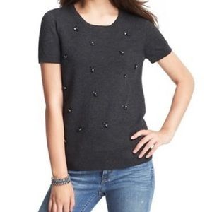 LOFT Ann Taylor Grey Jewel Short Sleeve Sweater S
